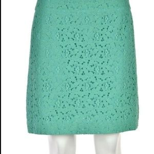 LOFT | Teal Green Floral Lace Skirt
